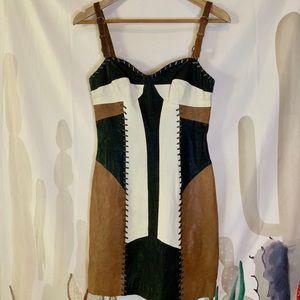 All Saints Leather Corset Maisie Dress